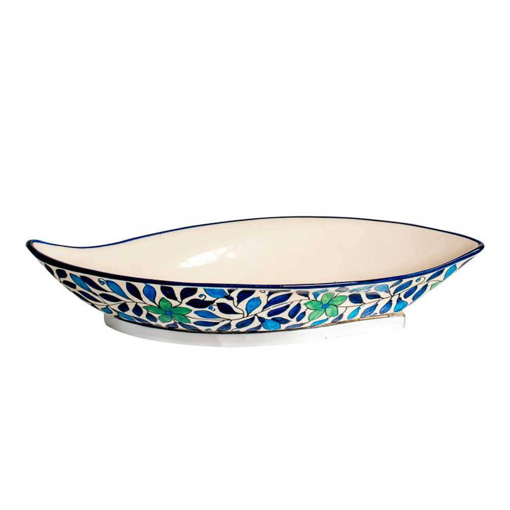 Petisqueira Grande Form Azul e Verde em Cerâmica e Aço Inox - 41x18 cm