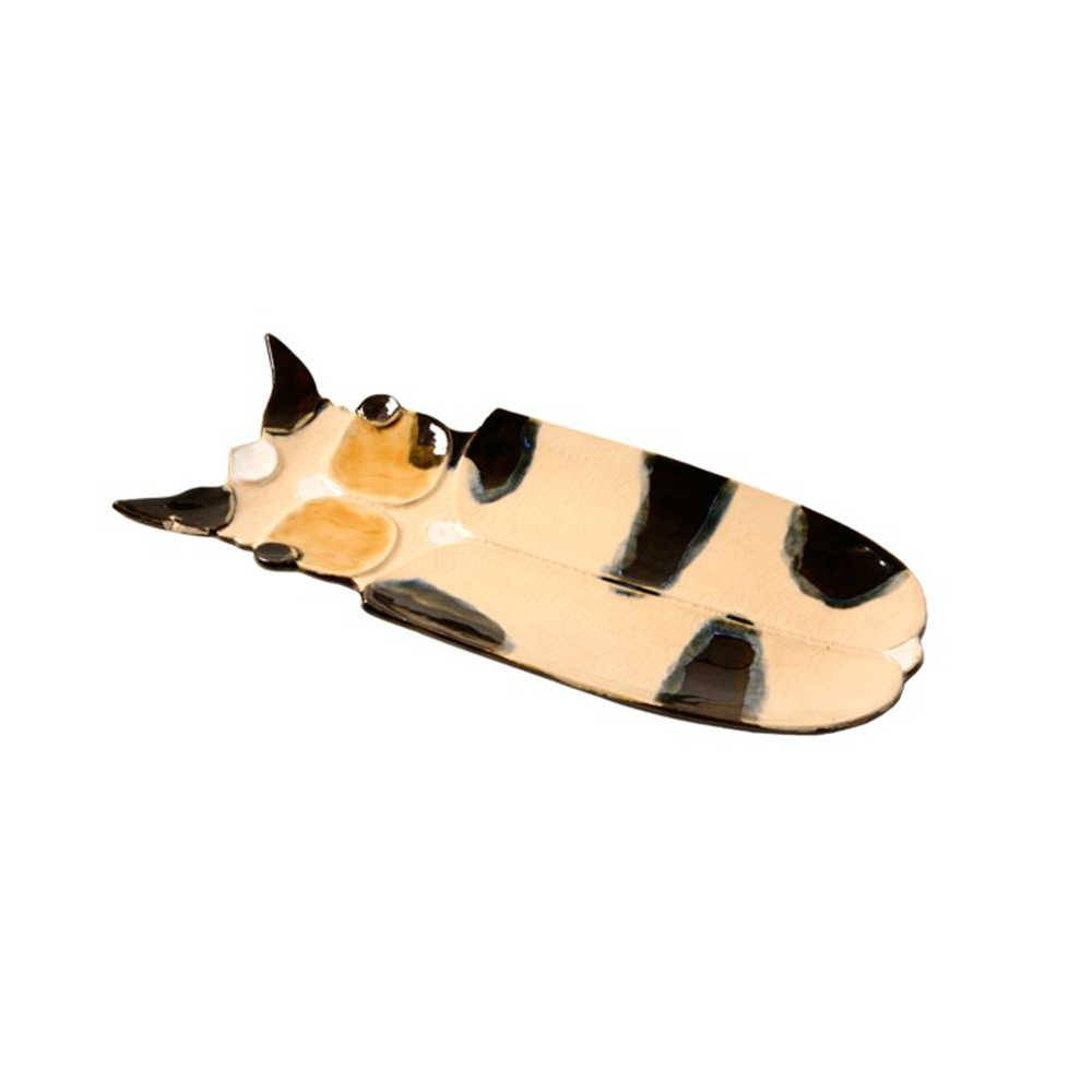 Petisqueira Inseto Bege com Preto em Cerâmica - 37x16 cm