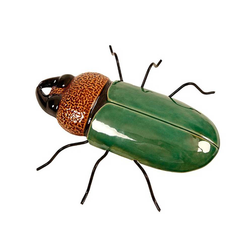Petisqueira Inseto Verde em Cerâmica - 30x30 cm