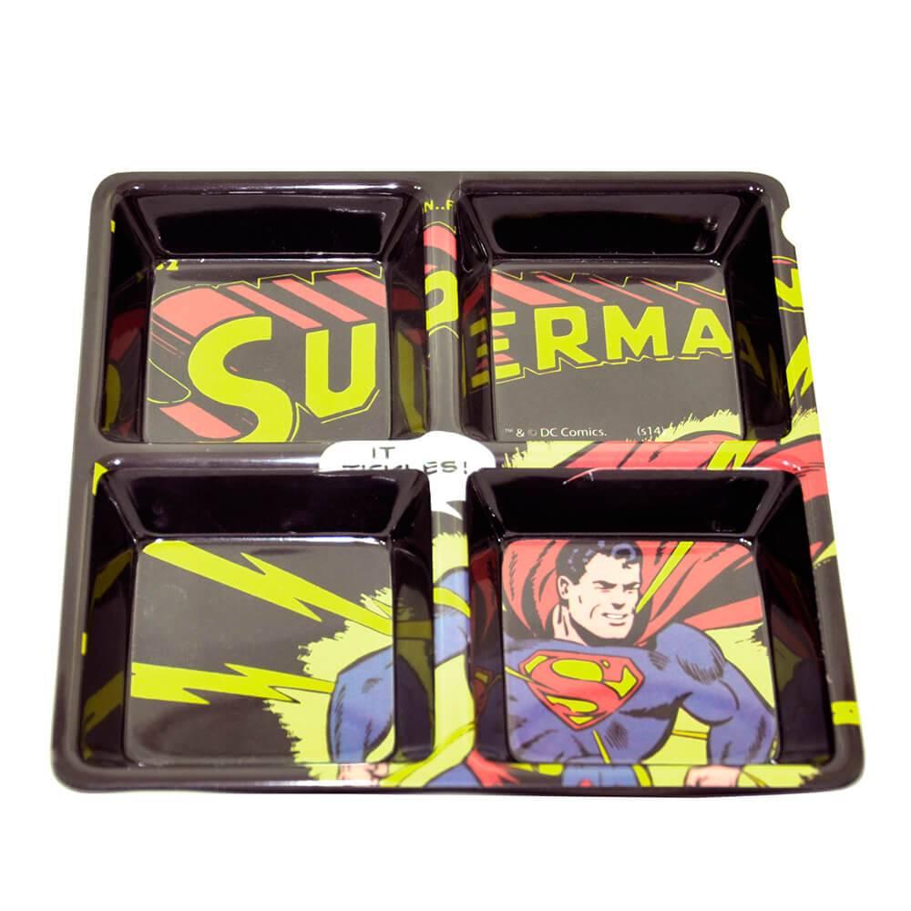Petisqueira Quadrada DC Comics Superman com Raios em Melamine - Urban - 21,5x21,5 cm
