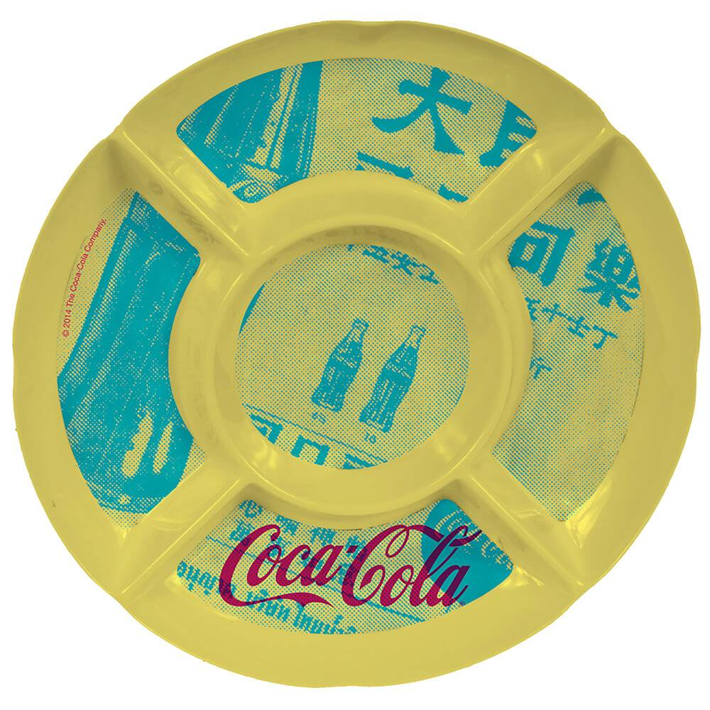 Petisqueira Redonda Coca-Cola Newspaper Amarela em Melamina - Urban - 27x27 cm