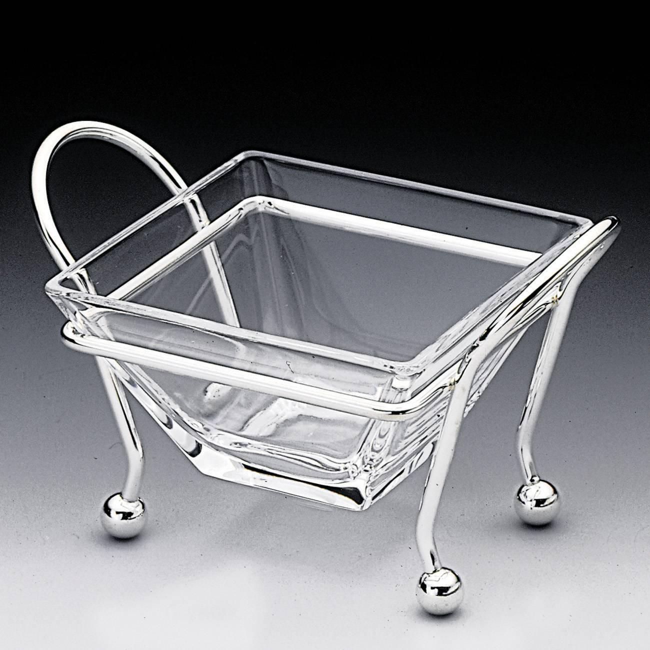 Petisqueira Charming em Prata e Vidro Média - Wolff - 14 cm