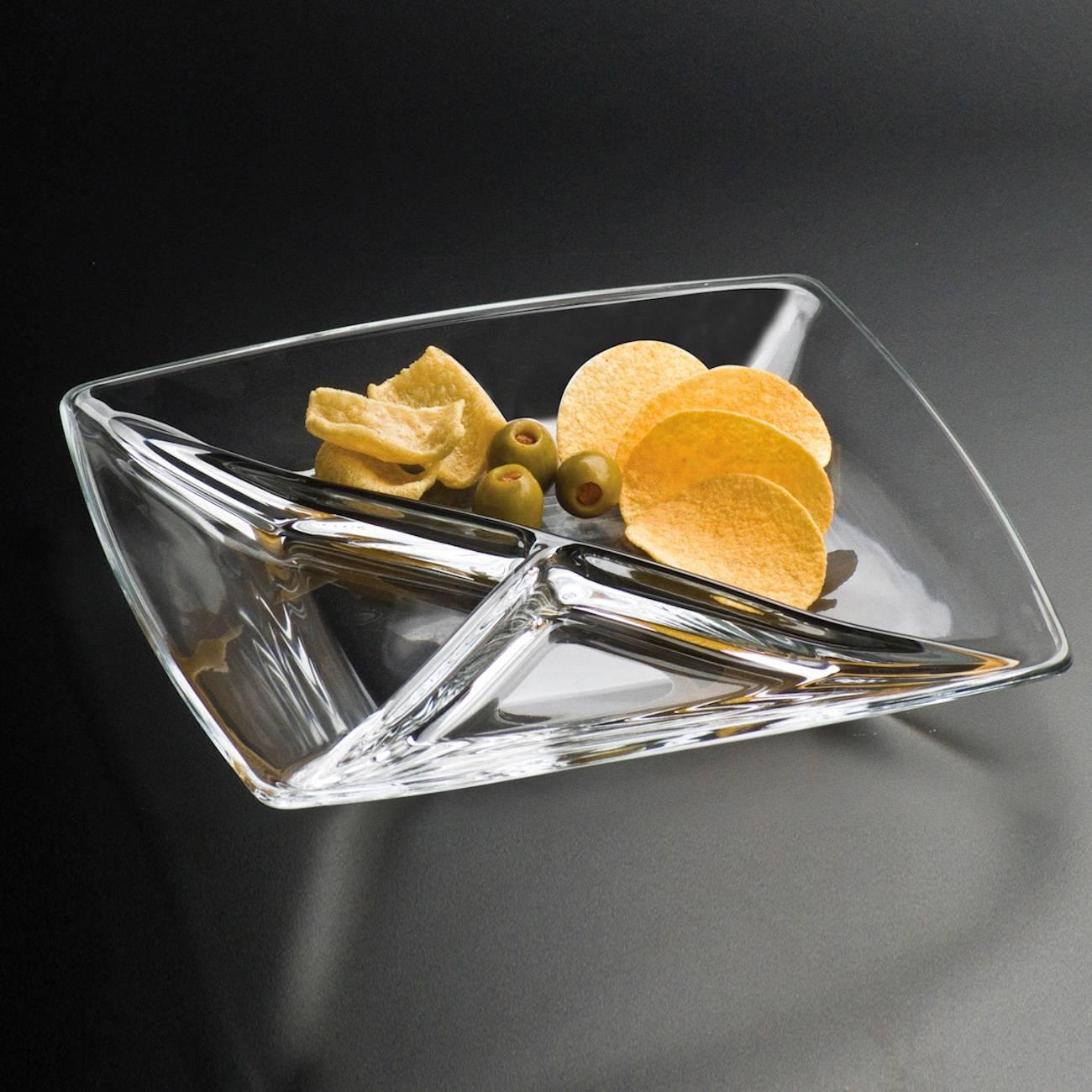 Petisqueira Torcelo Quadrada Transparente em Vidro - 23 cm