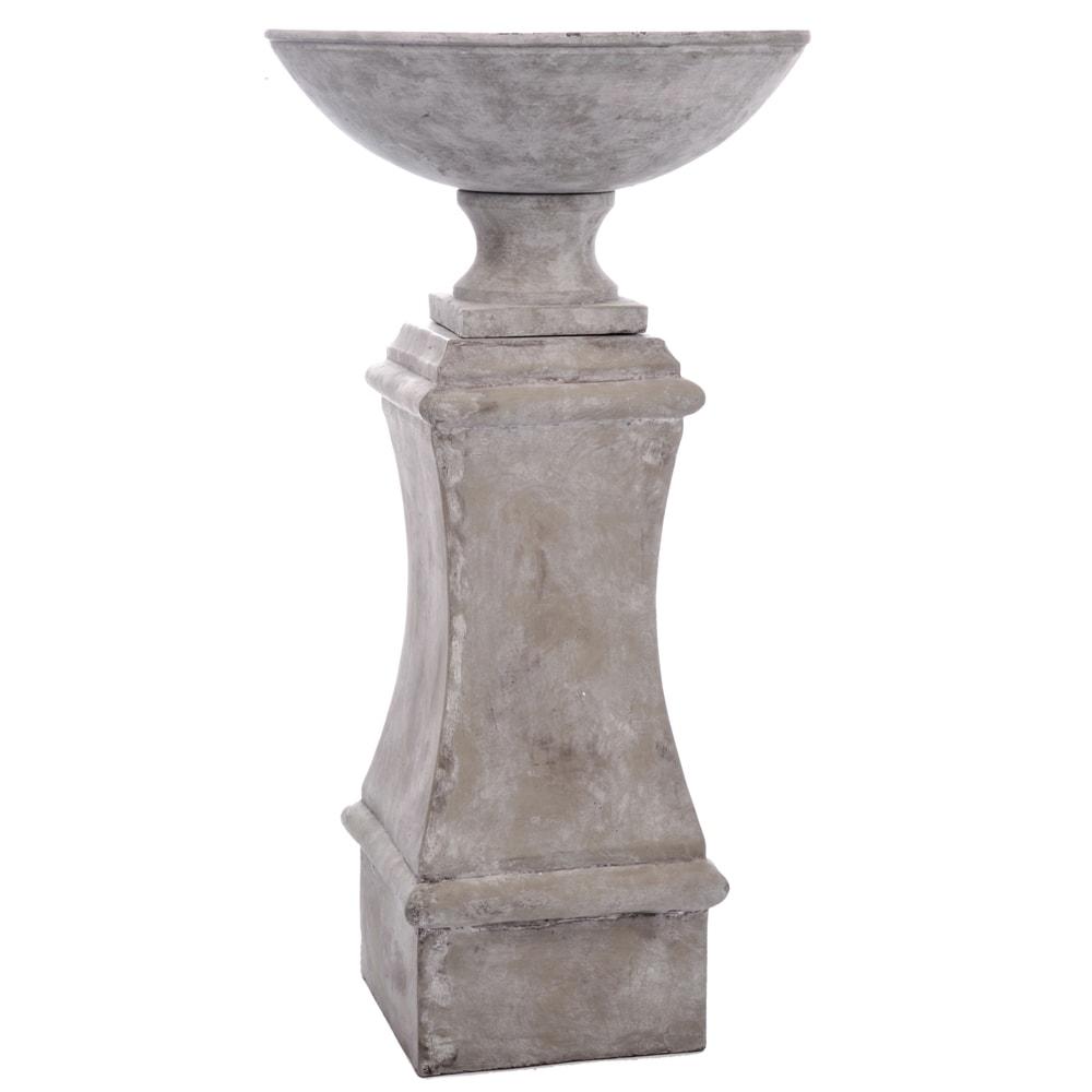 Pilar com Prato Grande Bege em Cerâmica - 76x35 cm
