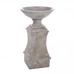 Pilar com Prato Pequeno Bege em Cerâmica - 50x29 cm