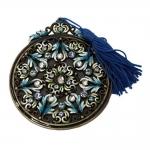 Pingente Decorativo Azul Redondo com Estrutura Detalhada e Franja em Metal/Tecido - 8x7 cm