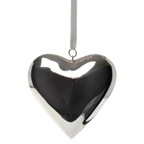 Pingente Decorativo Coração Prata Médio - 12x12 cm