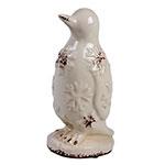 Pinguim Decorativo em Cerâmica Branco - 22x11 cm