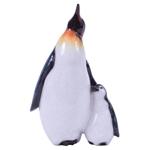 Pinguim com Filhote Decorativo em Cerâmica - 22x16 cm