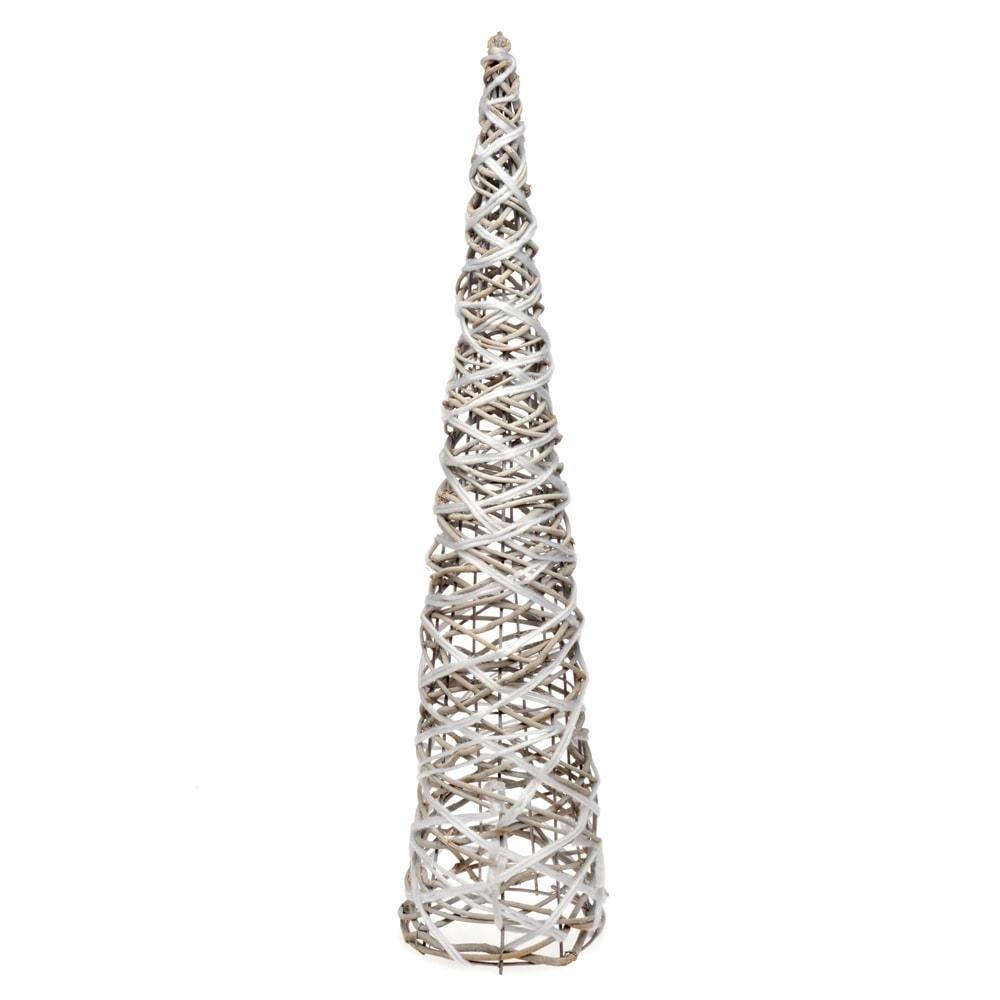 Pirâmide Garish Branco e Bege em Madeira - 60x17 cm
