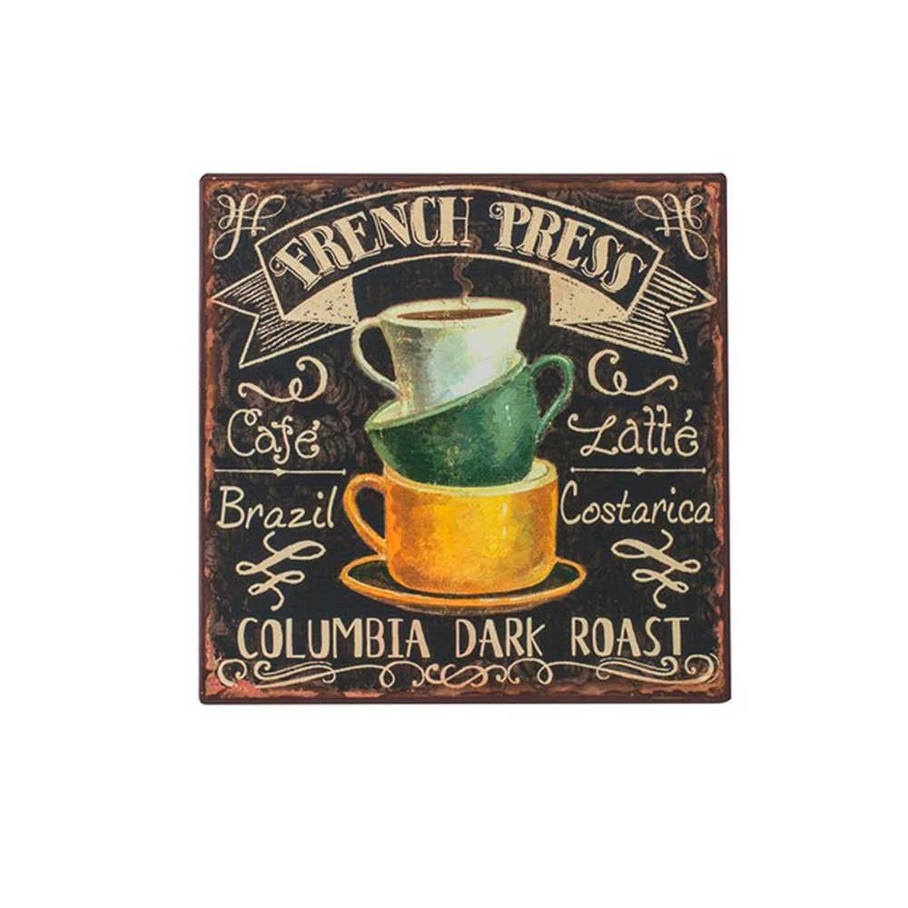 Placa 3 Xícaras de Café com Fundo Preto em Metal - 26x26 cm