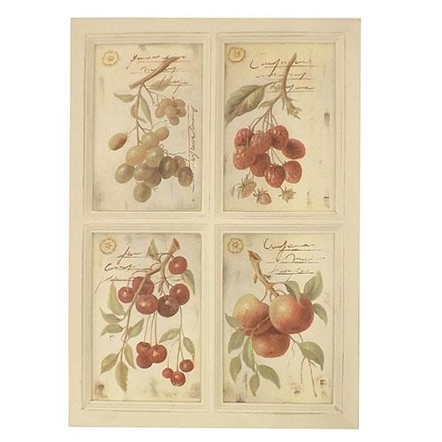 Placa 4 Imagens de Frutas - Madeira Estampada - 36x51 cm