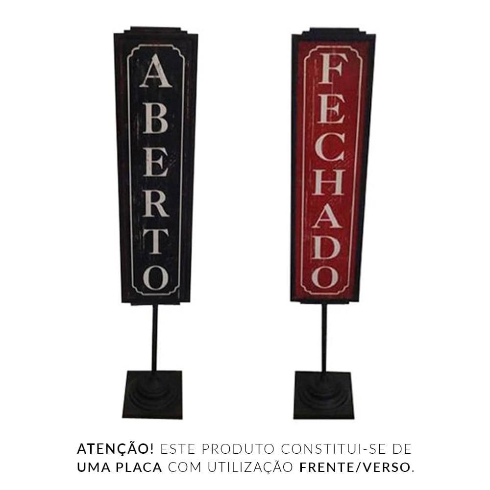 Placa Aberto/Fechado - Vertical de Chão - Vermelho e Preto em Metal - 125x21 cm