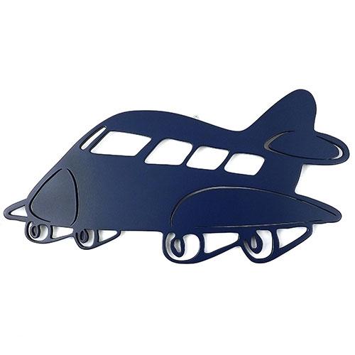 Placa Avião Azul  - Tema Infantil -  MDF Vazado - 39x20 cm