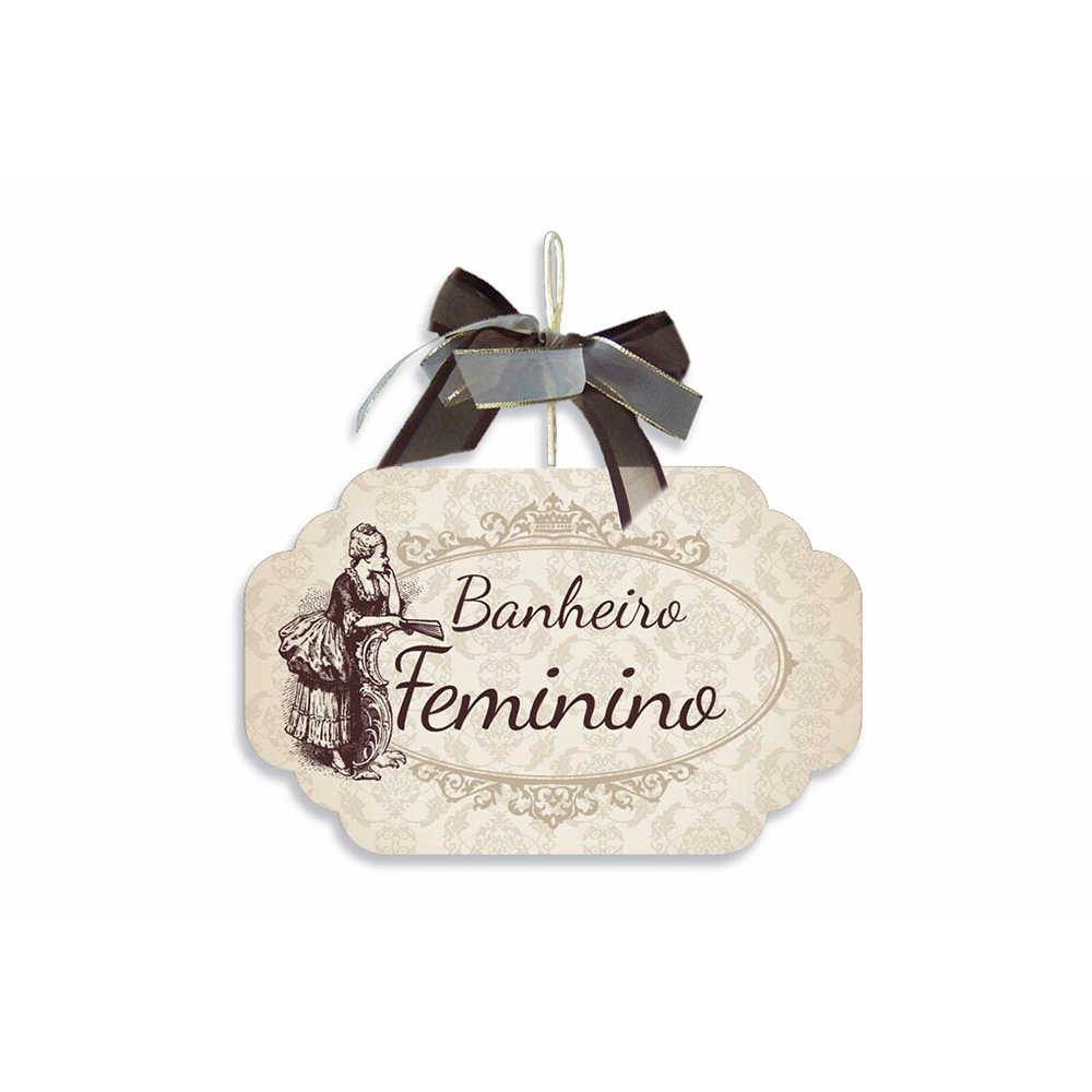 Placa para Banheiro Feminino Bege com Laço em MDF - 19x11,8 cm