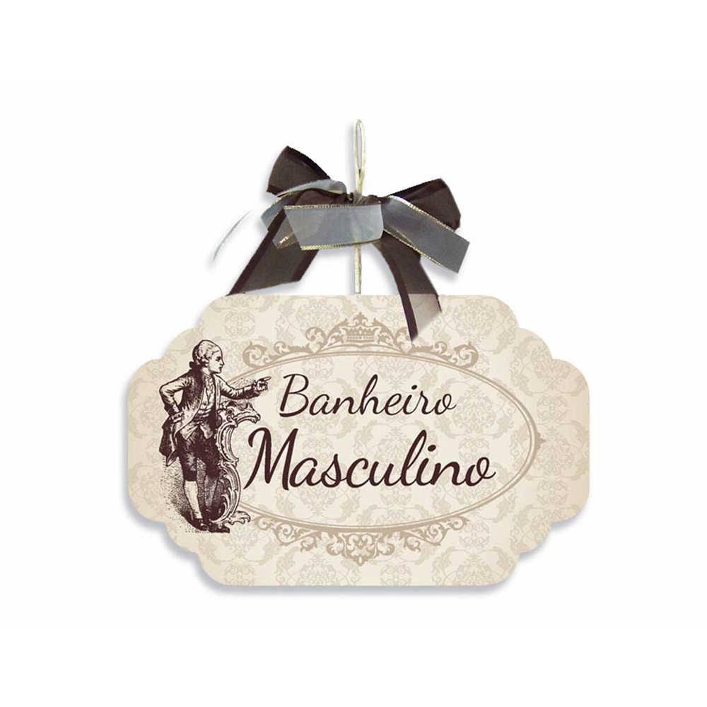 Placa para Banheiro Masculino Bege com Laço em MDF - 19x11,8 cm