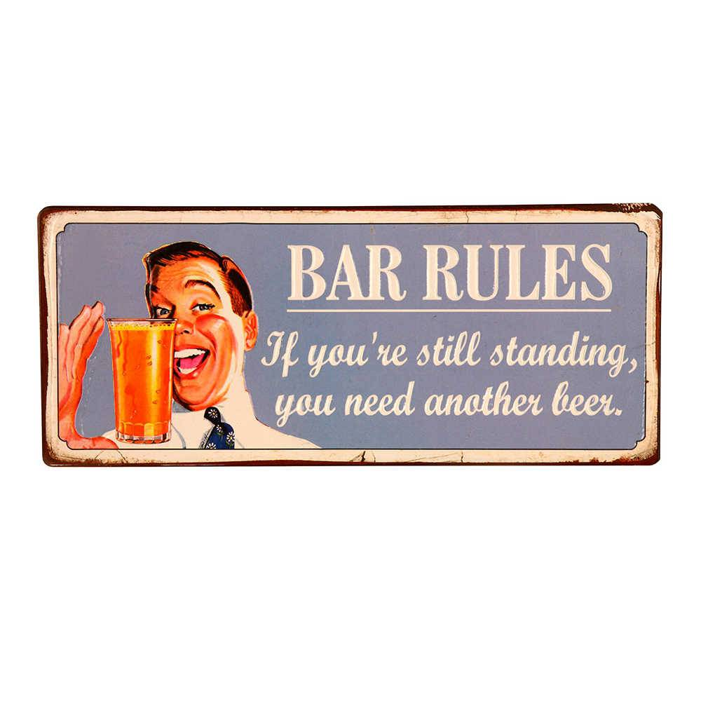 Placa Bar Rules em Metal - 30x15 cm