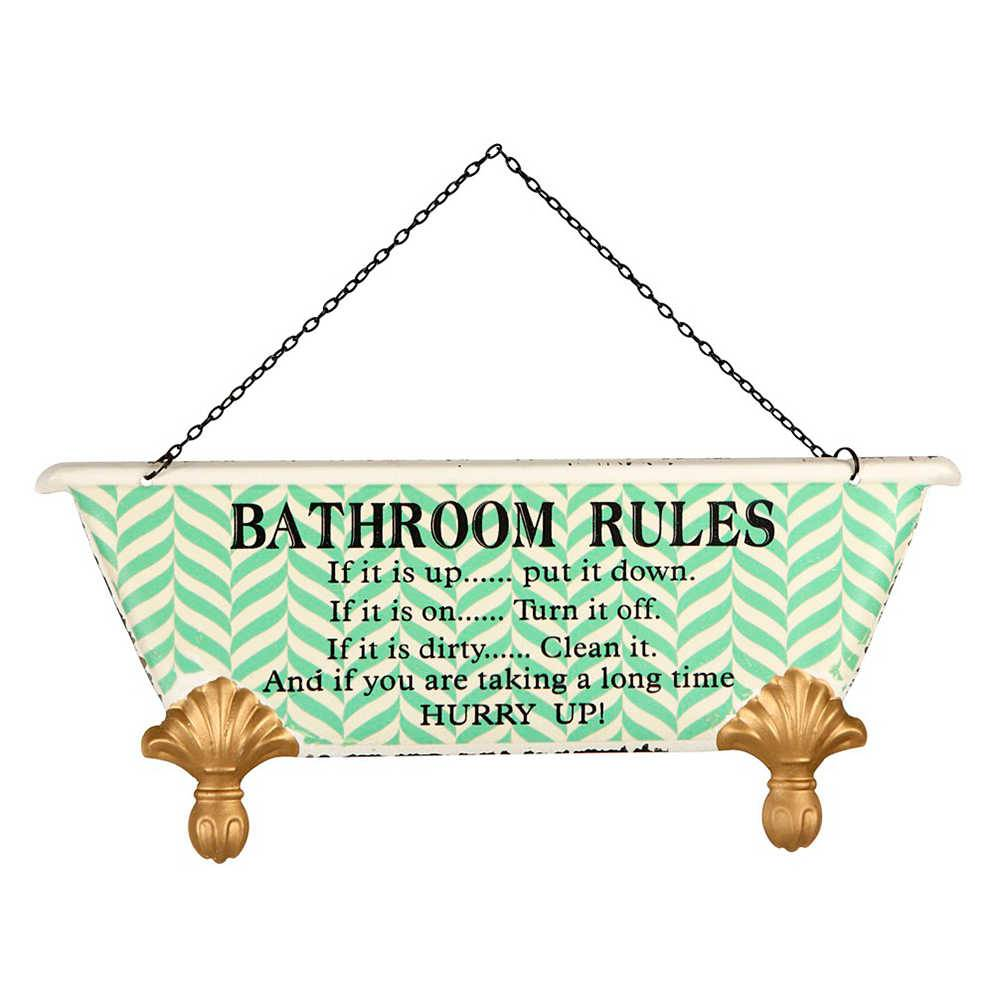 Placa Bathroom Rules em Metal - 30x20 cm