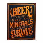 Placa Beer Preta e Laranja  em Metal - 36x27 cm