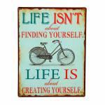 Placa Bicicleta Preta  em Metal - 35x26 cm
