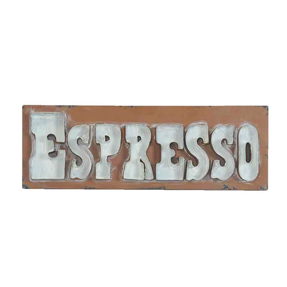 Placa Big Lettles Espresso Marrom em Ferro - Urban - 60x20 cm