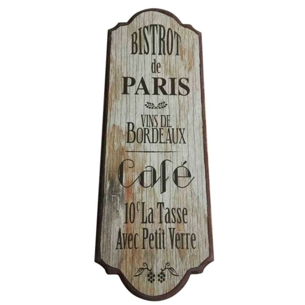 Placa Bistro de Paris em Madeira - Urban - 60x21 cm