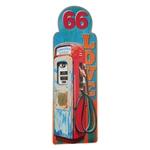 Placa Bomba de Gasolina Vermelha em Metal - 89x30 cm