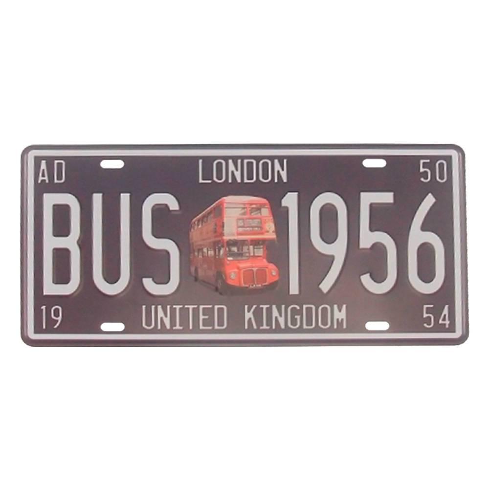 Placa Bus 1956 London Fundo Preto em Alumínio - 30x15 cm