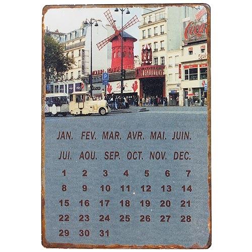 Placa Calendário Magnétic em Metal Moulin Rouge Oldway - 21x14 cm
