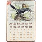 Placa Calendário Magnétic em Metal Pássaro Oldway - 21x14 cm
