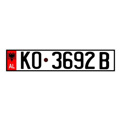 Placa de Carro Decorativa - Em Alto Relevo - Albânia - Europa - 53x12 cm