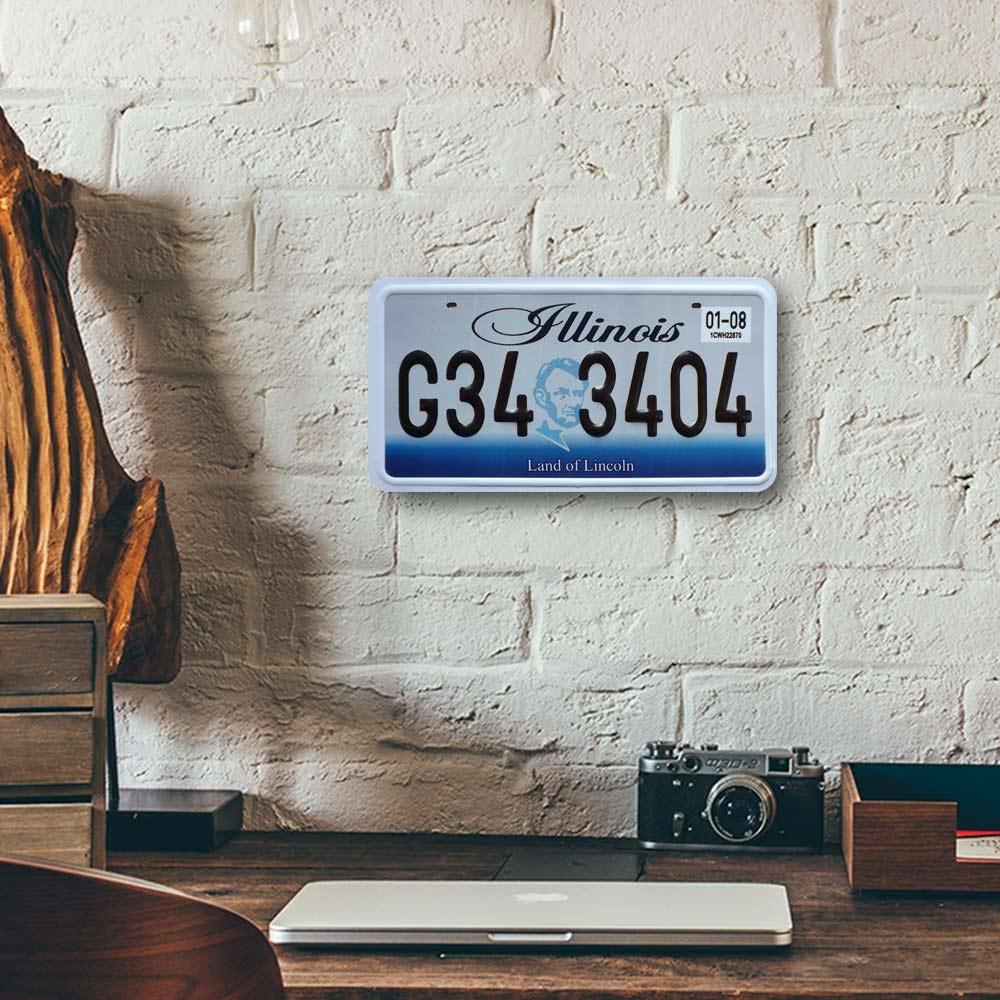 Placa de Carro Decorativa - Em Alto Relevo - Estado de Ilinóis - Estados Unidos - 31x16 cm
