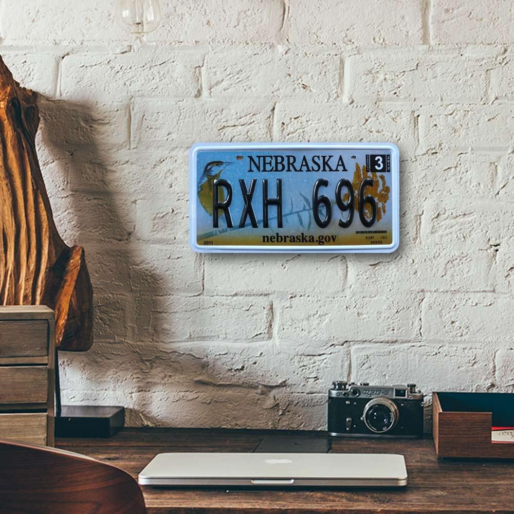 Placa de Carro Decorativa - Em Alto Relevo - Nebraska - Estados Unidos - 31x16 cm