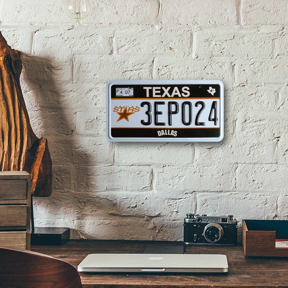 Placa de Carro Decorativa - Em Alto Relevo - Texas - Estados Unidos - 31x16 cm