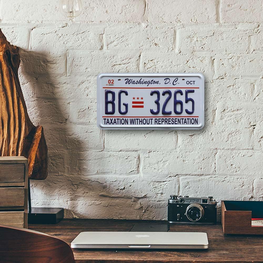 Placa de Carro Decorativa - Em Alto Relevo - Washington - Estados Unidos - 31x16 cm