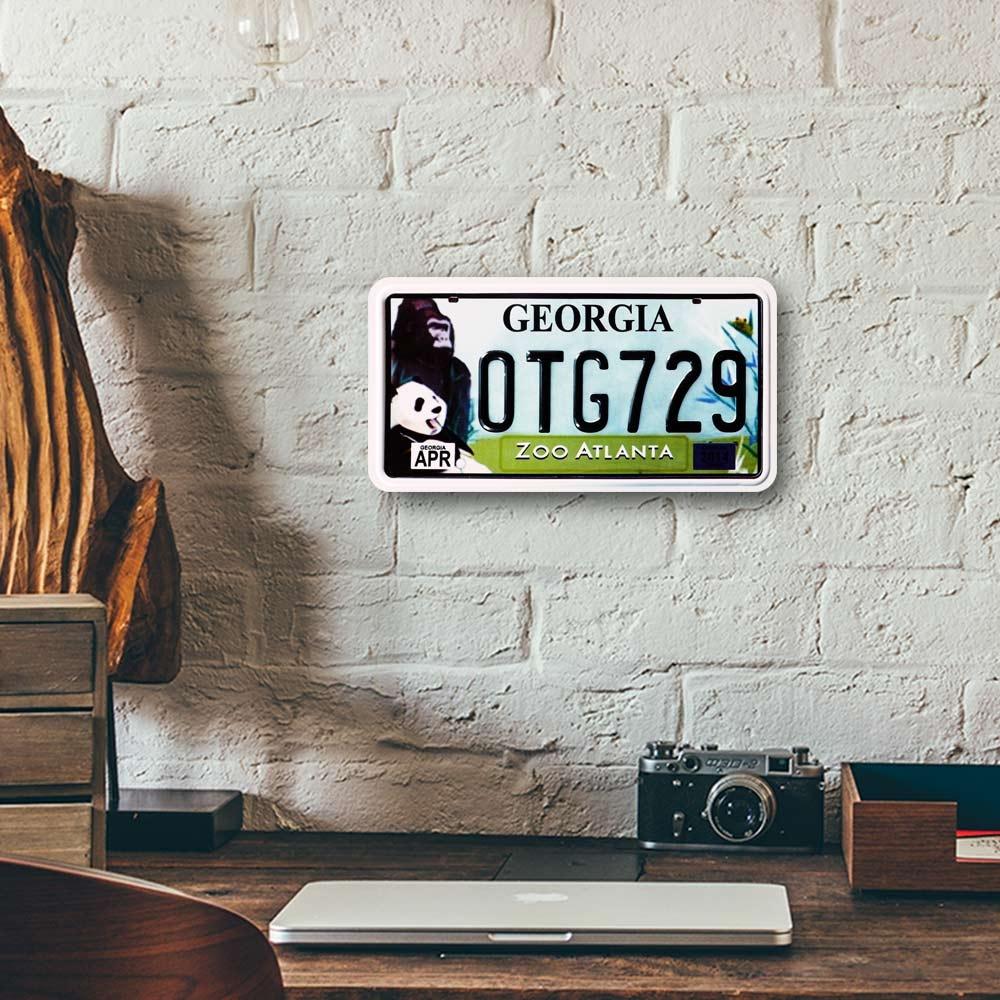Placa de Carro Decorativa - Em Alto Relevo - Zoo Atlanta - Geórgia - 31x16 cm