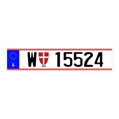 Placa de Carro Decorativa - Em Alto Relevo - Austria - Europa - 53x12 cm