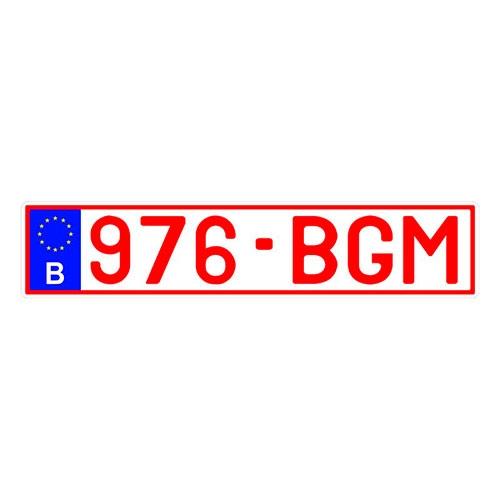 Placa de Carro Decorativa - Em Alto Relevo - Bélgica - Europa - 53x12 cm
