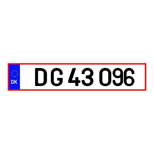 Placa de Carro Decorativa - Em Alto Relevo - Dinamarca - Europa - 53x12 cm
