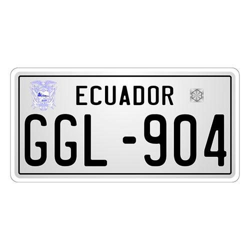 Placa de Carro Decorativa - Em Alto Relevo - Equador - América do Sul - 31x16 cm