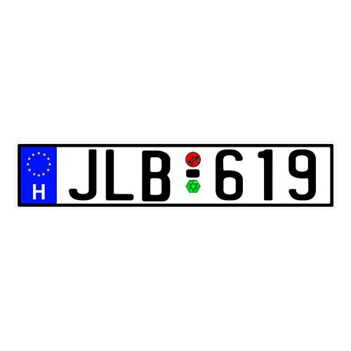 Placa de Carro Decorativa - Em Alto Relevo - Hungria - Europa - 53x12 cm