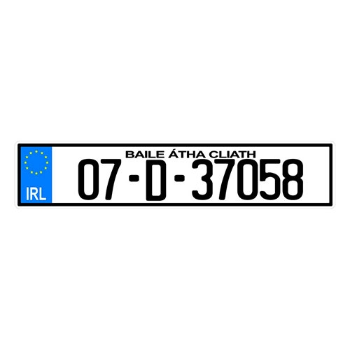 Placa de Carro Decorativa - Em Alto Relevo - Irlanda - Europa - 53x12 cm