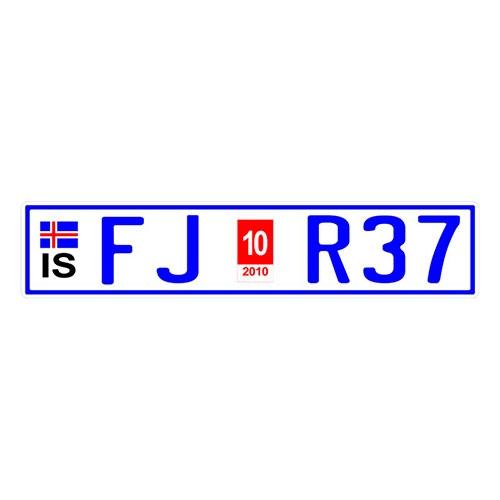 Placa de Carro Decorativa - Em Alto Relevo - Islândia - Europa - 53x12 cm