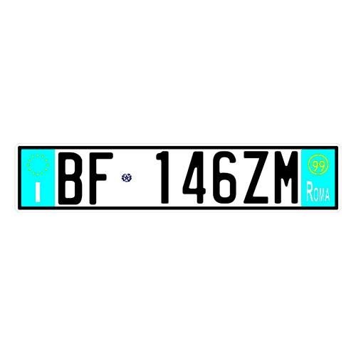 Placa de Carro Decorativa - Em Alto Relevo - Itália - Europa - 53x12 cm