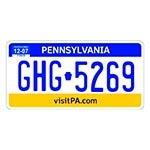 Placa de Carro Decorativa - Alto Relevo - Pensilvânia - EUA