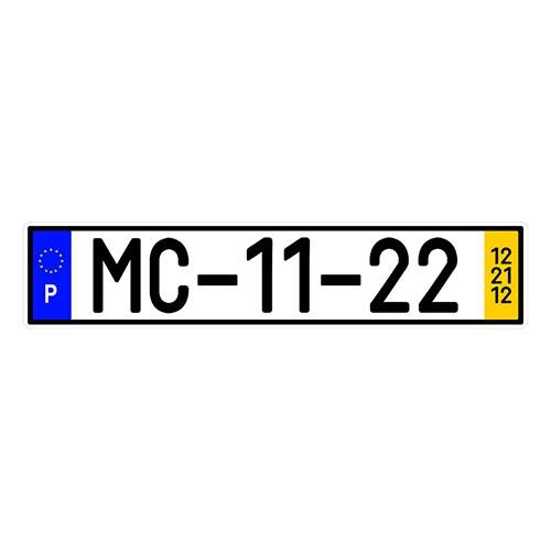 Placa de Carro Decorativa - Em Alto Relevo - Portugal - Europa - 53x12 cm