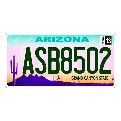 Placa de Carro Decorativa - Em Alto Relevo - San Antonio - Arizona - 31x16 cm