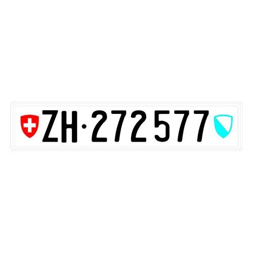 Placa de Carro Decorativa - Em Alto Relevo - Suíça - Europa - 53x12 cm