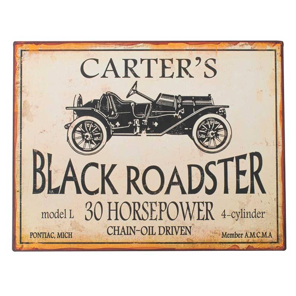 Placa Carters Black Roadster Branco e Preto em Metal - 40x31 cm
