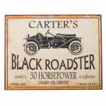 Placa Carters Black Roadster Branco e Preto em Metal